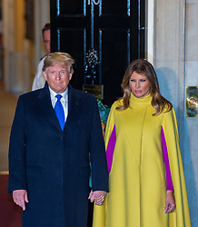© Licensed to London News Pictures. 03/12/2019. London, UK. US President Donald Trump and First Lady Melania Trump arrive in Downing Street as NATO Leaders' gather for a reception hosted by United Kingdom Prime Minister Boris Johnson.<br /> Allied leaders are in London for a NATO summit. The summit also marks NATO's 70th anniversary.<br /> Photo credit: Peter Manning/LNP<br /> <br /> <br /> .