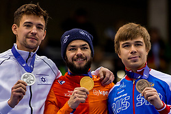 14-01-2018 DUI: ISU European Short Track Championships 2018 day 3, Dresden<br /> Vladislav Bykanov ISR #22, Sjinkie Knegt NED #2, Semen Elistratov RUS #12