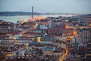 Lisbon twilight view from Saint George Castle.