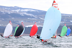 Day 1 of the RYA Youth National Championships 2013 held at Largs Sailing Club, Scotland from the 31st March - 5th April. ..1196, Charlotte HOOPER, Molly BROWN, Royal Burnham YC, 29er, 29er,  fleet, downwind,..For Further Information Contact..Matt Carter.Racing Communications Officer.Royal Yachting Association.M: 07769 505203.E: matt.carter@rya.org.uk ..Image Credit Marc Turner / RYA..