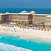 Aerial view of The Ritz Carlton hotel Cancun. Quintana Roo, Mexico.