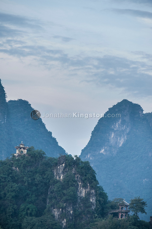 Pagodas built on top of Karst formations in Yangshuo, China.