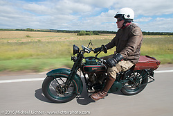 Dean Bordigioni (Dino) riding his 1923 Harley-Davidson JS during Stage 8 of the Motorcycle Cannonball Cross-Country Endurance Run, which on this day ran from Junction City, KS to Burlington, CO., USA. Saturday, September 13, 2014.  Photography ©2014 Michael Lichter.