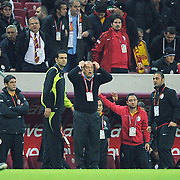 Galatasaray's coach Fatih TERIM (C) during their Turkish Superleague Galatasaray between Gaziantepspor at the TT arena in Istanbul Turkey on Wednesday 26 October 2011. Photo by TURKPIX
