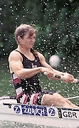 © Peter Spurrier/Sports Photo.e-mail pictures@rowingpics.com.44(0)973-819 551.Women's Henley Regatta 2000, 17-18 June 2000. ..Current British rowing  international, Dot Blackie, takes an eary shower ( backsplash from her partner's blade............   [Mandatory Credit, Peter Spurier/ Intersport Images]. 2000 Women's Henley Regatta
