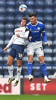 Preston North End's Ryan Ledson battles with Cardiff City's Kieffer Moore<br /> <br /> Photographer Dave Howarth/CameraSport<br /> <br /> The EFL Sky Bet Championship - Preston North End v Cardiff City - Sunday 18th October 2020 - Deepdale - Preston<br /> <br /> World Copyright © 2020 CameraSport. All rights reserved. 43 Linden Ave. Countesthorpe. Leicester. England. LE8 5PG - Tel: +44 (0) 116 277 4147 - admin@camerasport.com - www.camerasport.com