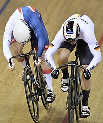 06-08-2018 WIELRENNEN: EUROPEAN CHAMPIONSHIPS TRACK CYCLING: GLASGOW<br /> Stefan Botticher (GER) wint in de halve finale sprint tegen Jack Carlin (GBR)<br /> <br /> Foto: SCS/Soenar Chamid
