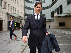© Licensed to London News Pictures. 14/06/2019. London, UK. Leadership candidate RORY STEWART MP is seen at BBC Broadcasting House in London following a BBC radio interview. Boris Johnson has cemented his position as favourite to become the next Prime Minster after winning a landslide in the first round of the conservative party's leadership race, with Jeremy Hunt a distant second. Photo credit: Ben Cawthra/LNP