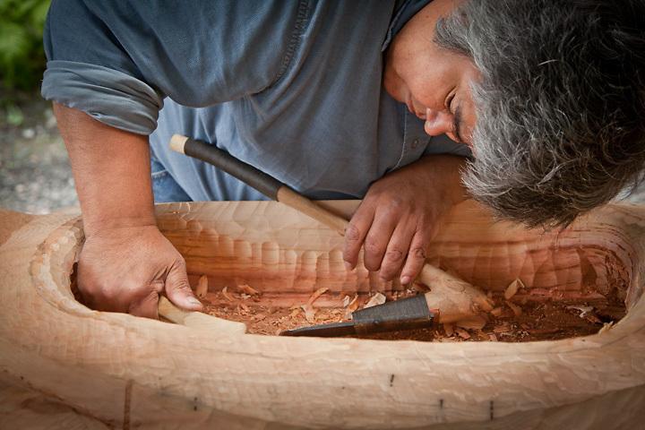 7.30.2012  James Williams, carves a ceremonial bowl at the Alaska Native Heritage Center, Anchorage, Alaska