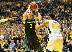 Jan 9, 2018; Morgantown, WV, USA; Baylor Bears guard Jake Lindsey (3) drives down the lane during the first half against the West Virginia Mountaineers at WVU Coliseum. Mandatory Credit: Ben Queen-USA TODAY Sports