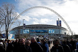 Supporters arrive outside Wembley Stadium - Photo mandatory by-line: Rogan Thomson/JMP - 07966 386802 - 01/03/2015 - SPORT - FOOTBALL - London, England - Wembley Stadium - Chelsea v Tottenham Hotspur - Capital One Cup Final.