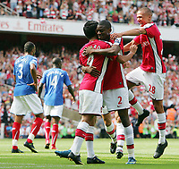 Arsenal FC vs Portsmouth FC Premiership 22/08/09<br /> Photo Nicky Hayes Fotosports International<br /> Abou Diaby celebrates scoring Arsenal's 1st goal with Eduardo and Kieran Gibbs.