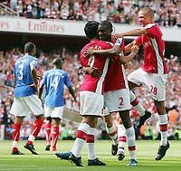 Arsenal FC vs Portsmouth FC Premiership 22/08/09<br /> Photo Nicky Hayes Fotosports International<br /> Abou Diaby celebrates scoring Arsenal's 1st goal with Eduardo and Kieran Gibbs.