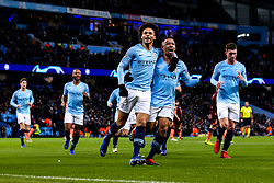 Leroy Sane of Manchester City celebrates with teammates after scoring a goal to make it 1-1 - Mandatory by-line: Robbie Stephenson/JMP - 12/12/2018 - FOOTBALL - Etihad Stadium - Manchester, England - Manchester City v Hoffenheim - UEFA Champions League Group stage