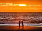 Sunset at Beverly Beach State Park Campground, Newport, Oregon coast, USA.