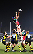 Wycombe, GREAT BRITAIN,  Quins' George ROBSON, collects the line out ball, during the London Wasps vs Harlequins, rugby match at Adam's Park Stadium, Bucks on Sun 04.01.2009. [Photo, Peter Spurrier/Intersport-images]