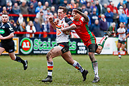 Bradford Bulls scrum half Brandon Pickersgill (24) is stopped from reaching the try line during the Betfred League 1 match between Keighley Cougars and Bradford Bulls at Cougar Park, Keighley, United Kingdom on 11 March 2018. Picture by Simon Davies.