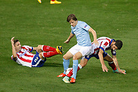 Atletico de Madrid´s Siqueira (L) and Raul Garcia and Malmo´s Ricardinho during Champions League soccer match between Atletico de Madrid and Malmo at Vicente Calderon stadium in Madrid, Spain. October 22, 2014. (ALTERPHOTOS/Victor Blanco)