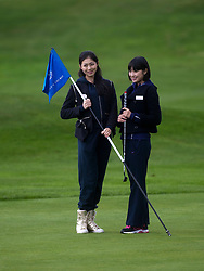 Miss China Chen LIU and Miss Japan Midori TANAKA..The Miss World participants play golf at the world famous Gleneagles Hotel, host of The Ryder Cup 2014..MISS WORLD 2011 VISITS SCOTLAND..Pic © Michael Schofield.