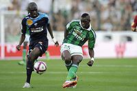 FOOTBALL - FRENCH CHAMPIONSHIP 2011/2012 - L1 - AS SAINT ETIENNE v AS NANCY LORRAINE - 13/08/2011 - PHOTO JEAN MARIE HERVIO / DPPI - BAKARY SAKO (ASSE) / BAKAYE TRAORE (ASNL)
