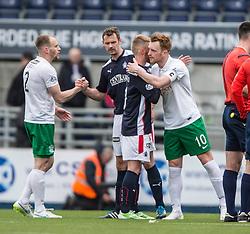 Falkirk's Craig Sibbald and Hibernian's Liam Craig at the end. <br /> Falkirk 0 v 3 Hibernian, Scottish Championship game played at The Falkirk Stadium 2/5/2015.