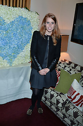 PRINCESS BEATRICE OF YORK at a party hosted by Lady Kinvara Balfour, Lavinia Brennan and Lady Natasha Rufus Isaacs to celebrate the Beulah French Sole Collaboration in aid of the UN Blue Heart Campaign, held at George, 87-88 Mount Street, London on 10th December 2013.
