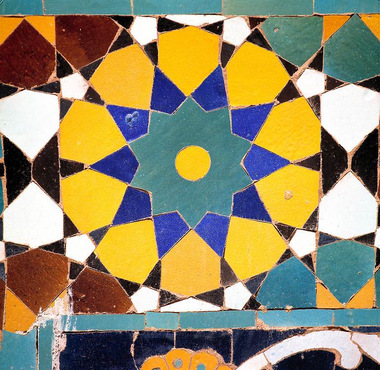 A detail of a colorful mosaic tile at the Shrine to Hazrat Ali in Mazar-i-Sharif, Afghanistan.