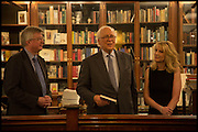 ANDREW MCGEACHIN; SIR EVELYN DE ROTHSCHILD; VICKY WARD;   Book party for 'The Liar's Ball' by Vicky Ward hosted by  Sir Evelyn  de Rothschild at Henry Sotheran's, 2 Sackville Street London. 25 November 2014
