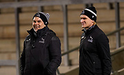Newcastle Falcons defence coach Nick Easter talks with line-out coach Scott McLeod before a Gallagher Premiership Round 12 Rugby Union match, Friday, Mar 05, 2021, in Eccles, United Kingdom. (Steve Flynn/Image of Sport)
