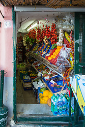 Sorrento, Italy, September 15 2017. A colourful array of fruit and vegetables at Marina Grande in Sorrento, Italy. © Paul Davey