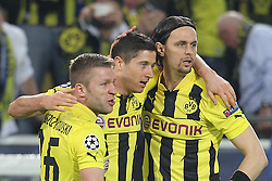30-04-2013 VOETBAL: UEFA CL SEMI FINAL BORUSSIA DORTMUND - REAL MADRID: DORTMUND <br /> Torjubel / Jubel  nach dem 1:0 durch Robert Lewandowski (Dortmund #9) mit Kuba (Dortmund #16) und Neven Subotic (Dortmund #4)<br /> ***NETHERLANDS ONLY***<br /> ©2013-FotoHoogendoorn.nl