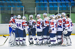 Players of Slovenia celebrate after winning at the Friendly Ice-hockey match between National teams of Slovenia and Italy on April 5, 2013 in Ice Arena Tabor, Maribor, Slovenia. Slovenia defeated Italy 5-3 after penalty shots. (Photo By Vid Ponikvar / Sportida)
