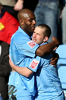 Photo: Pete Lorence.<br />Coventry City v Hull City. Coca Cola Championship. 03/03/2007.<br />Michael Doyle celebrates taking Coventry into an early lead.