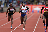 Asha Phillips (c) competing in the Women's 100m Semi-Final race. The British Championships 2016, athletics event at the Alexander Stadium in Birmingham, Midlands  on Saturday 25th June 2016.<br /> pic by John Patrick Fletcher, Andrew Orchard sports photography.