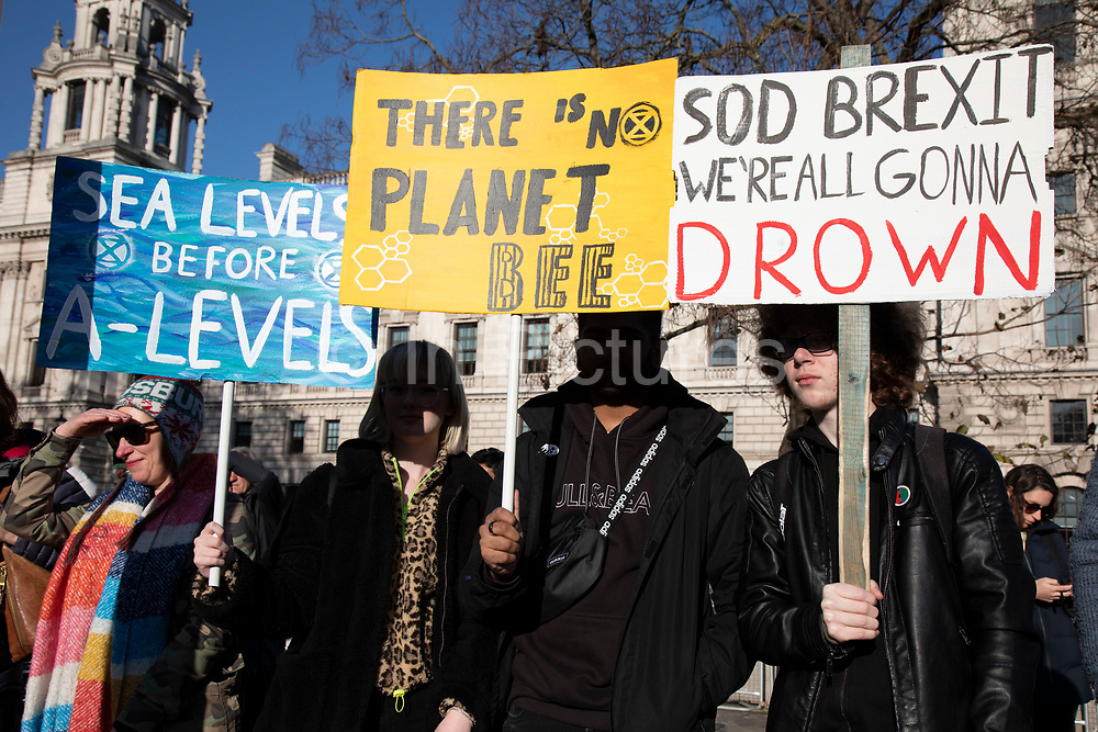 People of all ages gather for the Global Climate Strike organised by UK Student Climate Network on 29th November 2019 in London, United Kingdom. The School strike for climate, also known as Fridays for Future, FFF, Youth for Climate and Youth Strike 4 Climate, is an international movement of school students who are deciding not to attend classes and instead take part in demonstrations to demand action to prevent further global warming and climate change. UK Student Climate Network is calling on everyone - adults, workers, community groups, trade unionists, nurses, teachers, steel workers, car manufacturers, waiters and everyone else in between to join them in a global general climate strike. This protest will join people all around the world in a massive day of climate action.