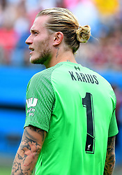 July 22, 2018 - Charlotte, NC, U.S. - CHARLOTTE, NC - JULY 22: Liverpool goalkeeper Loris Karius (1) looks up pitch during an International Champions Cup match between LiverPool FC and Borussia Dortmund on July 22 2018 at Bank Of America Stadium in Charlotte,NC.(Photo by Dannie Walls/Icon Sportswire) (Credit Image: © Dannie Walls/Icon SMI via ZUMA Press)