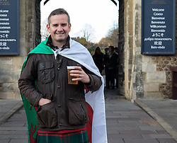 A Wales fan outside Cardiff Castle<br /> <br /> Photographer Simon King/Replay Images<br /> <br /> Under Armour Series - Wales v Australia - Saturday 10th November 2018 - Principality Stadium - Cardiff<br /> <br /> World Copyright © Replay Images . All rights reserved. info@replayimages.co.uk - http://replayimages.co.uk