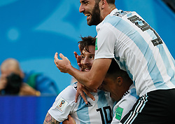 June 26, 2018 - Saint Petersburg, Russia - Lionel Messi (C) of Argentina national team celebrates his goal with Enzo Perez and Gonzalo Higuain during the 2018 FIFA World Cup Russia group D match between Nigeria and Argentina on June 26, 2018 at Saint Petersburg Stadium in Saint Petersburg, Russia. (Credit Image: © Mike Kireev/NurPhoto via ZUMA Press)
