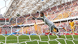 SOCHI, June 26, 2018  Goalkeeper Mathew Ryan (front) of Australia misses a goal during the 2018 FIFA World Cup Group C match between Australia and Peru in Sochi, Russia, June 26, 2018. Peru won 2-0. (Credit Image: © Liu Dawei/Xinhua via ZUMA Wire)