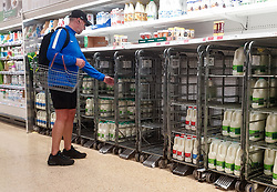 © Licensed to London News Pictures. 08/10/2021. London, UK. A shopper stands next to nearly empty shelves of fresh milk in Sainsbury's, north London. The Government and retailers warn that food and fuel shortages could continue until Christmas due to labour shortages following Brexit. Photo credit: Dinendra Haria/LNP