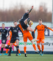 Falkirk's Craig Sibbald over Dundee United's Flood. Falkirk 6 v 1 Dundee United, Scottish Championship game played 6/1/2018 played at The Falkirk Stadium.