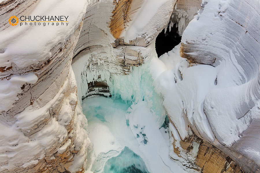 Grooved limestone walls of Mistaya Canyon Canyon in winter in Banff National Park, Alberta, Canada
