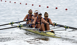 Great Britain's Sara Parfett, Caragh McMurtry, Emily Ashford and Josephine Wratten in the Women's Four heat one race during day one of the 2018 European Championships at the Strathclyde Country Park, North Lanarkshire.