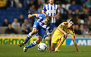 Brighton central midfielder, Dale Stephens wins the battle during the Sky Bet Championship match between Brighton and Hove Albion and Rotherham United at the American Express Community Stadium, Brighton and Hove, England on 15 September 2015.