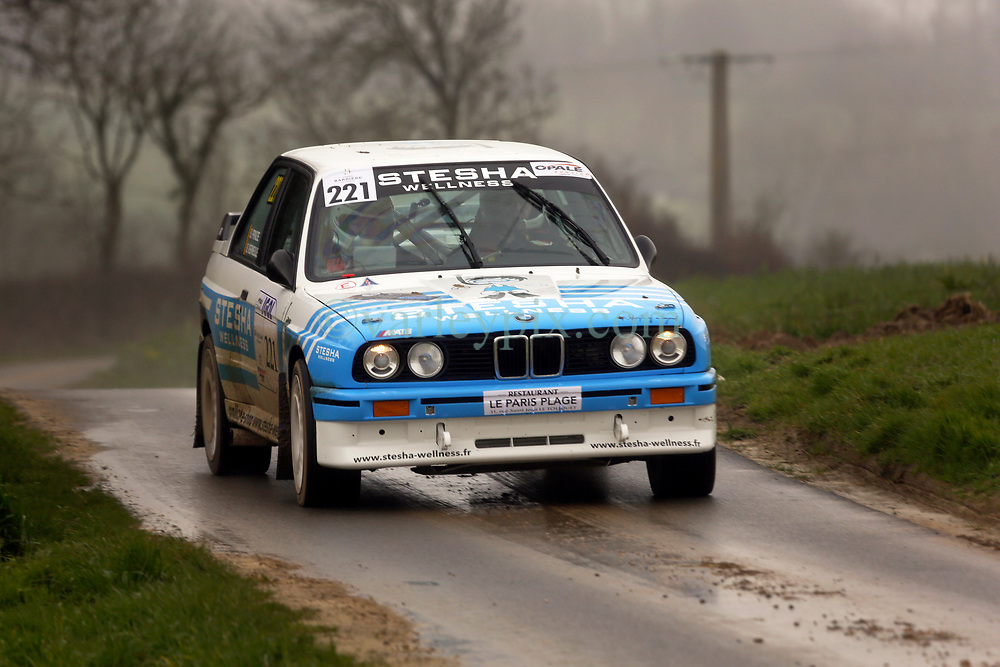 14 March 2020. Saint Denoeux, Pas de Calais, France. Rallye du Touquet.<br /> The 60th Rally du Touquet winds its way through the French countryside. The Rally is one of the few sporting events taking place in the midst of the almost total cancellation of all sporting events due to the outbreak of COVID-19 coronavirus. <br /> Photo©; Charlie Varley/varleypix.com