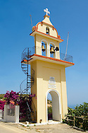 The Orthodox church tower of Panagia of Langouvarda at the foot of which The Virgin Mary's Snakes appear between August 5 and August 15.  Kefalonia, Greek Ionian Islands .<br /> <br /> Visit our GREEK HISTORIC PLACES PHOTO COLLECTIONS for more photos to download or buy as wall art prints https://funkystock.photoshelter.com/gallery-collection/Pictures-Images-of-Greece-Photos-of-Greek-Historic-Landmark-Sites/C0000w6e8OkknEb8