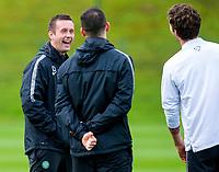 01/10/14  <br /> CELTIC TRAINING<br /> LENNOXTOWN<br /> Celtic manager Ronny Deila is in good spirits at training