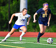 Columbia forward Maddie Mauch (left) moves in on Althoff defender Hope Schmitt. Althoff played Columbia in the sectional championship game at Althoff High School in Belleville, IL on Friday June 11, 2021. <br /> Tim Vizer/Special to STLhighschoolsports.com.