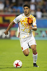 June 20, 2017 - Gdynia, Poland - Marco Asensio of Spain controls the ball during the UEFA European Under-21 Championship 2017  Group B match between Portugal and Spain at Gdynia Stadium in Gdynia, Poland on June 20, 2017  (Credit Image: © Andrew Surma/NurPhoto via ZUMA Press)