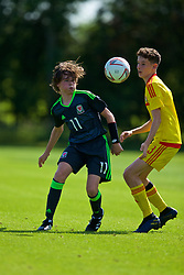 WREXHAM, WALES - Monday, July 22, 2019: Harvey Morris of North (L) and Sebastian Watkins of South during the Welsh Football Trust Cymru Cup 2019 at Colliers Park. (Pic by Paul Greenwood/Propaganda)